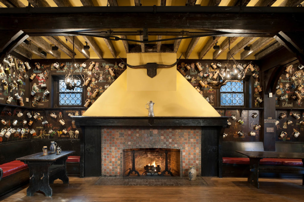 fireplace at the mask and wig club theater